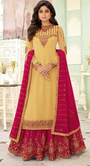 Yellow Real Georgette  Party Wear Salwar Suit With  Dupatta