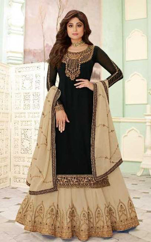 Black Real Georgette  Party Wear Salwar Suit With  Dupatta