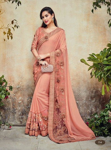 Peach,Georgette,Heavy designer saree