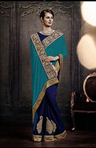 heavy border Saree  in hues of blue