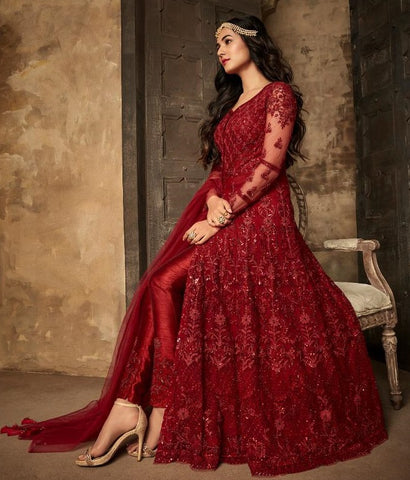 Maroon Net Party Wear Anarkali With Maroon Dupatta