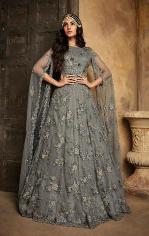 Grey Net Party Wear Anarkali Suit With Grey Dupatta