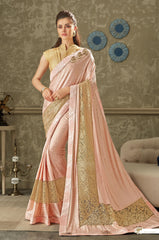 Pink Lycra Party Wear Saree With Gold Blouse