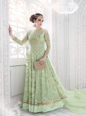 Green Emebroidered Georgette Abaya Style Anarkali Suit With Dupatta