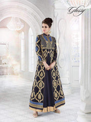 Blue Gerogette Abaya Style Anarkali Dress With Dupatta