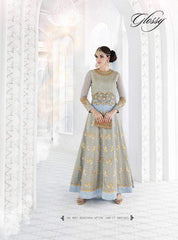 Blue Gerogette Daimond Worked Abaya Style Anarkali Suit With Dupatta