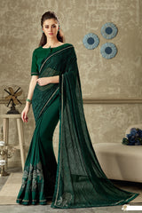 Green Lycra Party Wear Saree With Green Blouse