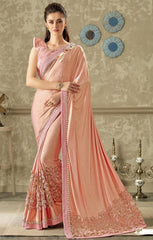 Pink Lycra Party Wear Saree With Pink Blouse