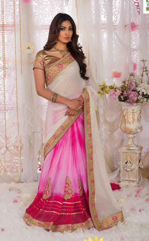Saree White,Georgette