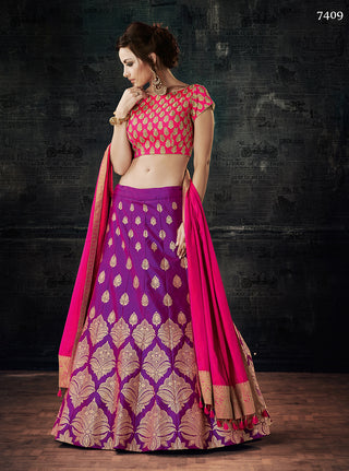 Purple Dual Tone Silk Lehenga With Pink Choli And Dupatta