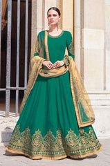 Green Georgette Party Wear  Anarkali Dress With Beige Dupatta