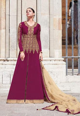 Magenta Georgette Party Wear  Anarkali Suit With Beige Dupatta