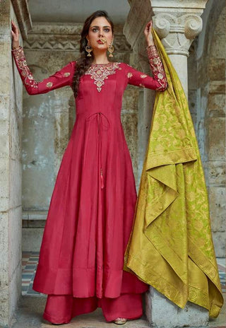 Red Silk Embroidered Work Anarkali Suit With Green Dupatta