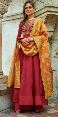 Red Silk Embroidered Work Anarkali With Orange Dupatta