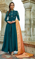 Aqua Silk Embroidered Work Anarkali With Orange Dupatta