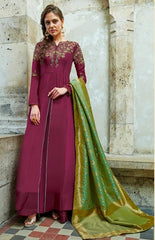 Maginta Silk Embroidered Work Anarkali Dress With Green Dupatta