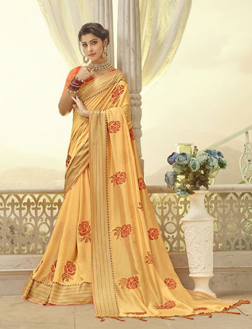 Yellow  Silk Party Wear Saree With Orange Blouse