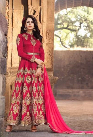 Red,Silk,Party wear designer suits