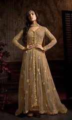 Beige Net Party Wear Anarkali Dress With Beige Dupatta
