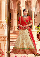 Beige Silk Party Wear  Lehenga With Red Dupatta