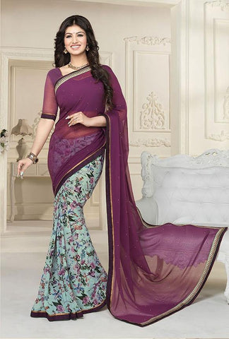 Violet,Georgette,Light weight causal designer daily wear saree