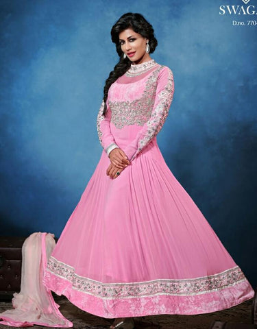 Pink,Georgette,Designer long anarkali suits
