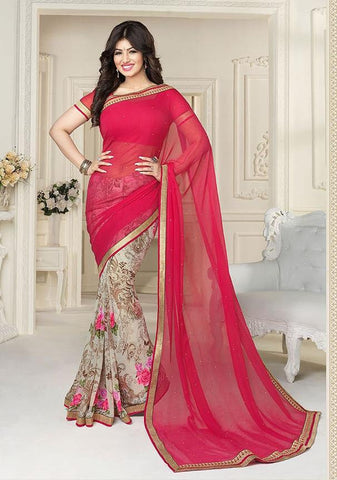Pink,Georgette,Light weight causal designer daily wear saree