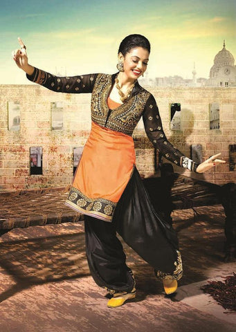 Shop Designer black and orange punjabi patiala suit with embroidery work for women