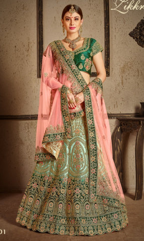 Green Satin Bridal Lehenga With Pink Dupatta