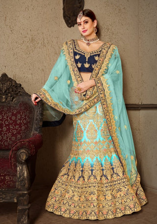 Blue Satin Bridal Lehenga With Blue Dupatta