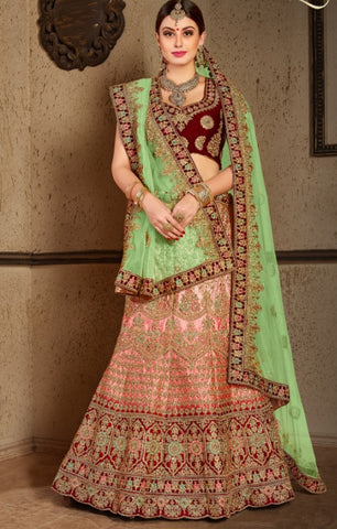 Pink Satin Bridal Lehenga With Green Dupatta