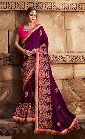 Purple Silk Saree With Red Blouse