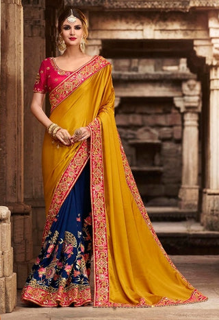 Yellow & Blue Silk Saree With Red Blouse