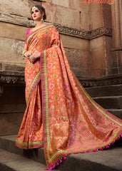 Banarsi Orange Silk Saree With Blouse