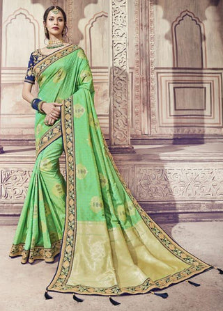 Green Silk Party Wear Saree With Blouse