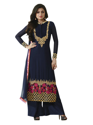Navy Blue,Georgette,Straight designer party wear suits