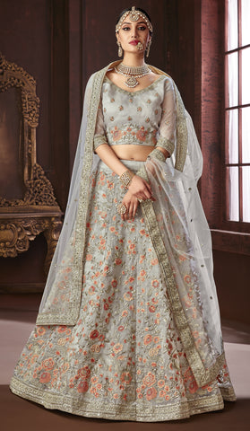 Grey Silk Party Wear Lehenga With Grey Dupatta