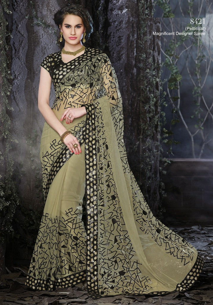 Designer net saree in moss green and black color suitable for parties and  wedding