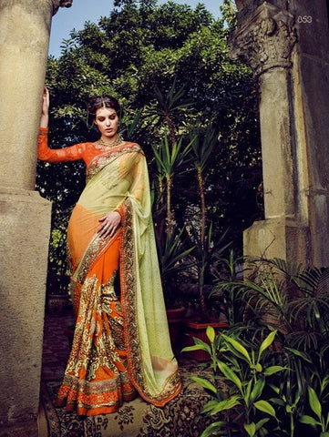 Stunner saree with such a flow of color, yellow and orange  with lots of work  A bembreng georgette saree , with net pallu and blouse of georgette ch a flow of color, yellow and orange  with lots of work  A bembreng georgette saree , with net pallu and blouse of georgette