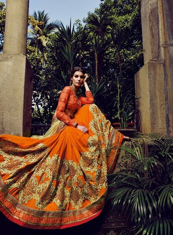 Stunner saree with such a flow of color, yellow and orange  with lots of work  A bembreng georgette saree , with net pallu and blouse of georgette