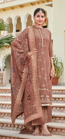 Copper Rust Pure Crape Party Wear Suit With  Dupatta