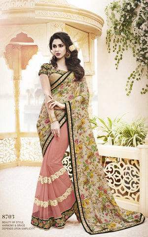 Designer Bhagalpuri Silk saree in Net and Designer Net Saree with Jacquard Silk blouse in Light Pink and Beige Combo Offer