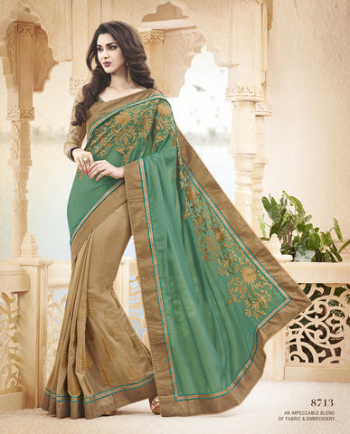 Designer chiffon saree with net blouse For Parties and Reception and Designer Net Saree with Jacquard Silk blouse in Light Pink and Beige Combo Offer