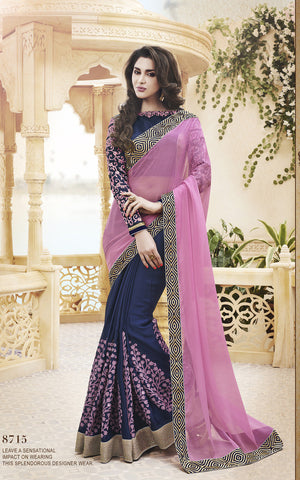 Designer  Satin Chiffon Half Half Pink and Blue Saree for Parties and Wedding and Designer Chiffon and Net Saree for parties and wedding Combo Offer