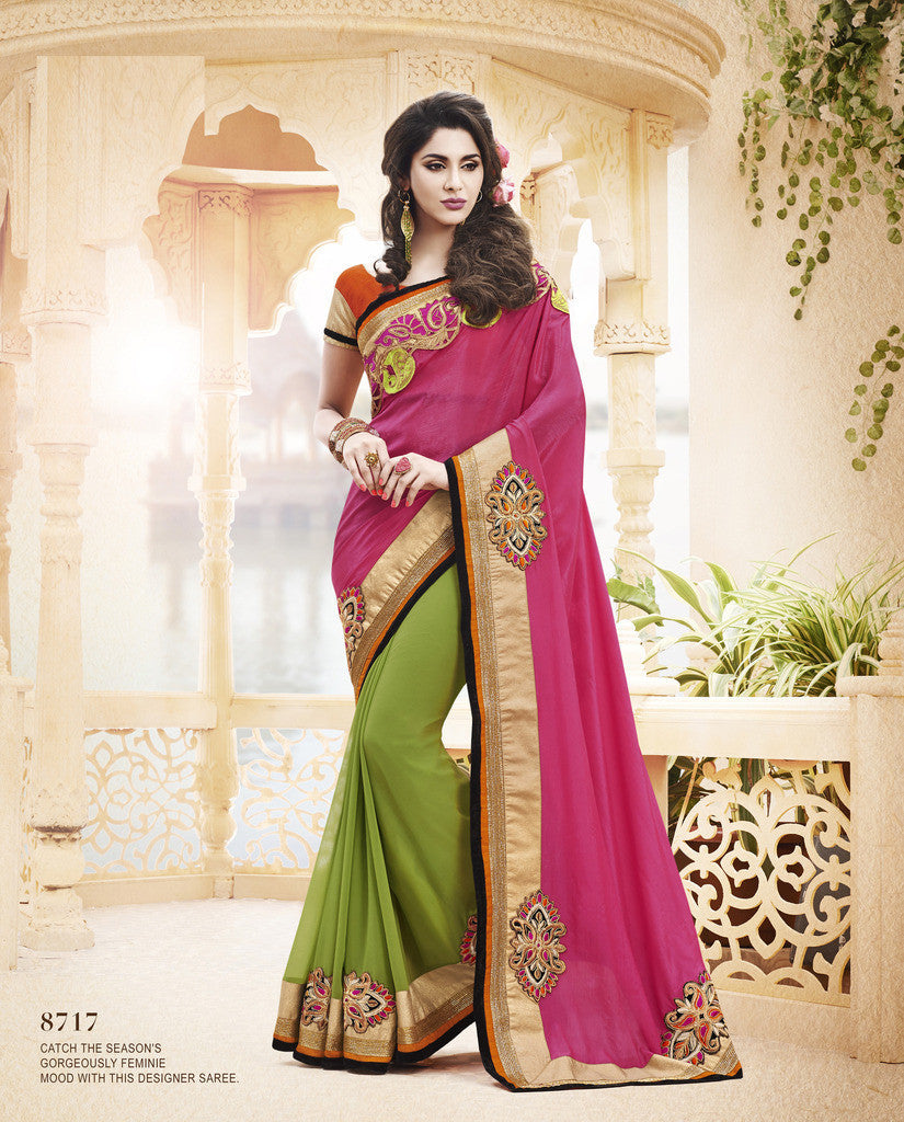 8b9b20068a Pink And Blue ,Chiffon And Satin Chiffon,designer saree with heavy  embroidery with designer