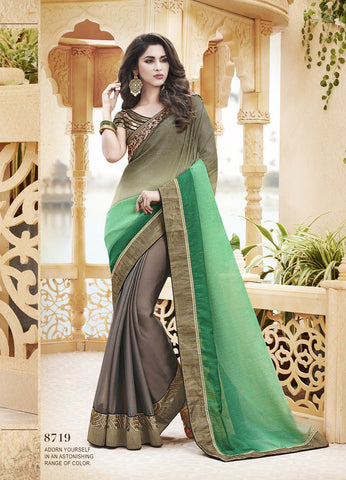 Pink  And Blue ,Chiffon And Satin Chiffon,designer saree with heavy embroidery with designer blouse
