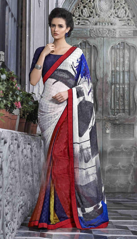 Saree Multi Colour,Shimmer Georgette