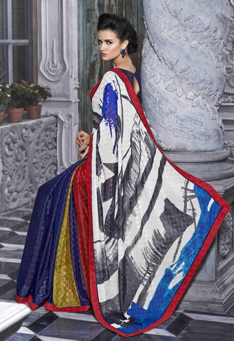 Multicolore white and red saree with designer pallu within 3500