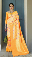 Yellow Soft Silk Meenakari Party Wear Saree With Yellow Blouse
