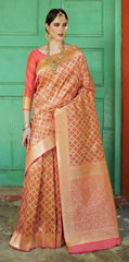 Pink Soft Silk Meenakari Party Wear Saree With Pink Blouse